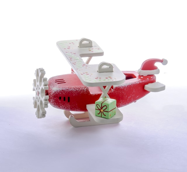 Елочная игрушка, сувенир - Самолет Биплан 3020 Santa Winter