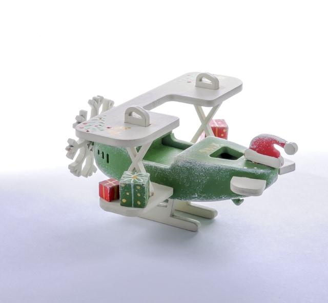 Елочная игрушка, сувенир - Самолет Биплан 6017 Santa Winter