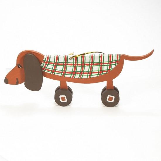 Елочная игрушка - Такса пряничная в попоне 360-5