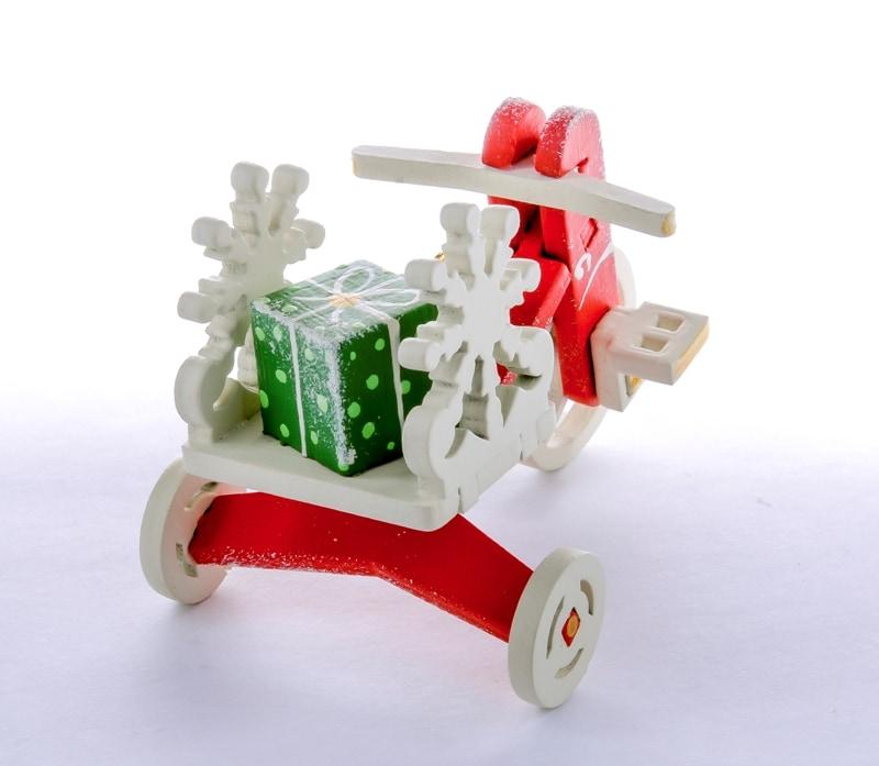 Елочная игрушка - Детский велосипед с багажником 3020 SnowFlake