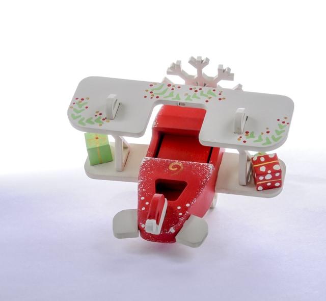 Елочная игрушка, сувенир - Самолет Биплан 3020 Santa