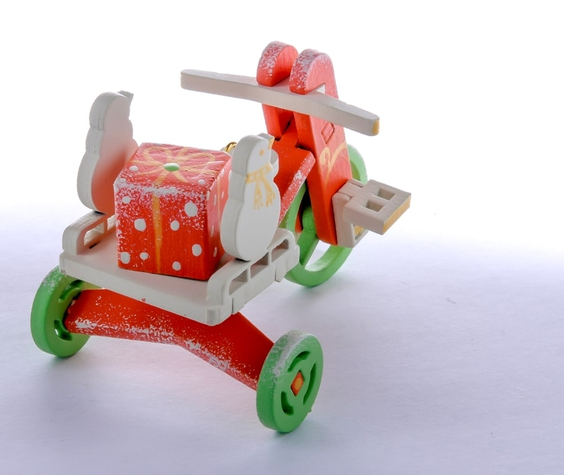 Елочная игрушка - Детский велосипед с багажником 410-3 SnowMan