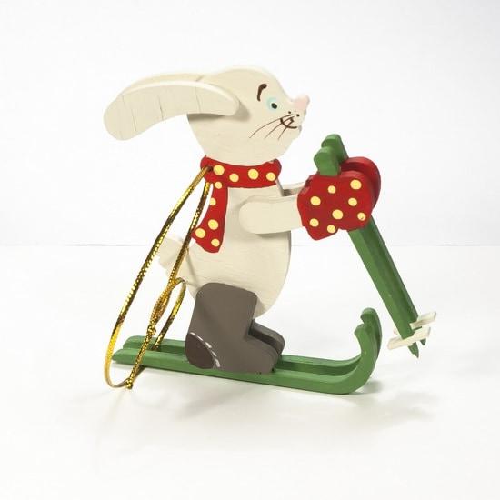 Елочная игрушка - Зайчик на лыжах 3020