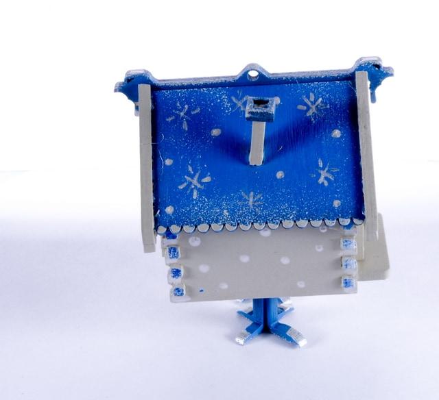 Елочная игрушка, сувенир - Избушка на курьих ножках 1013 Blue