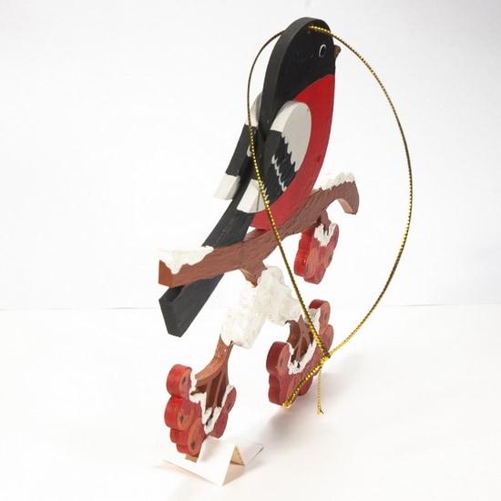 Елочная игрушка из дерева - Снегирь на ветке 3020