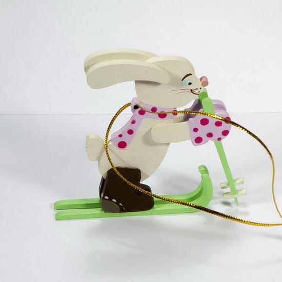 Елочная игрушка - Зайчик на лыжах 540-1