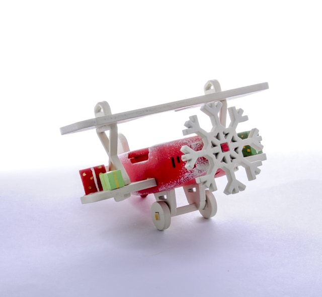 Елочная игрушка, сувенир - Самолет Биплан 3020