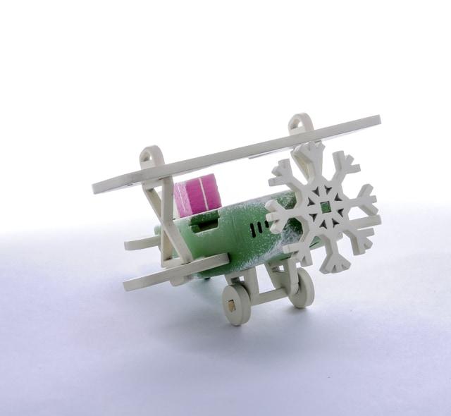 Елочная игрушка, сувенир - Самолет Биплан 6017