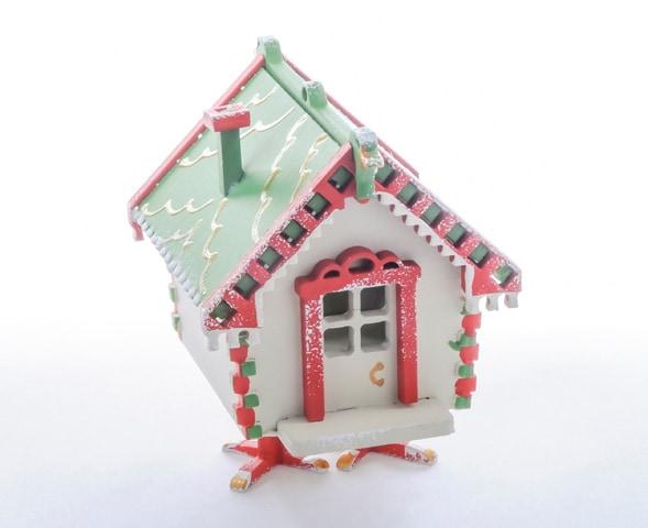 Елочная игрушка, сувенир - Избушка на курьих ножках 1013 Green