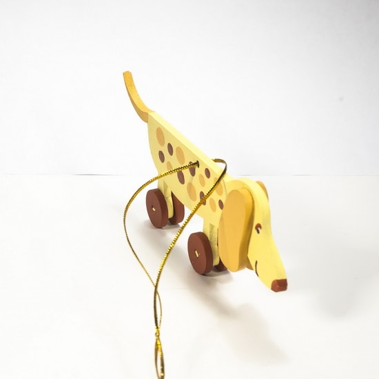 Елочная игрушка - Такса желтая 270-1