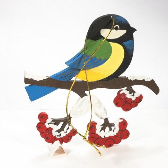 Елочная игрушка из дерева - Синица на ветке 270-1