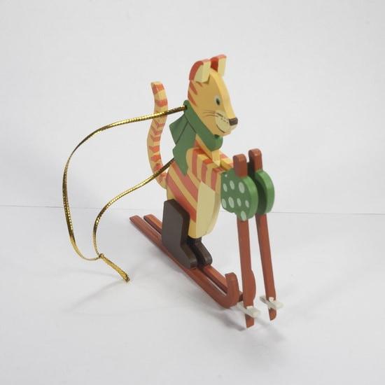 Елочная игрушка - Кошка на лыжах 370-1