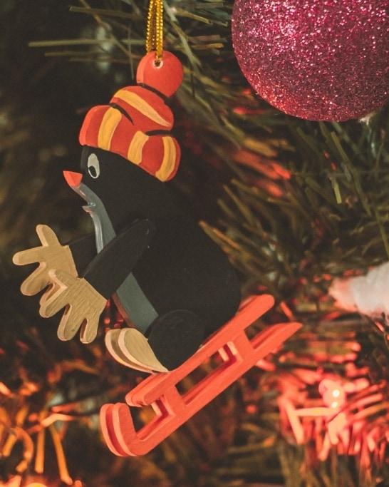 Елочные игрушки - Кротик на санках 9005