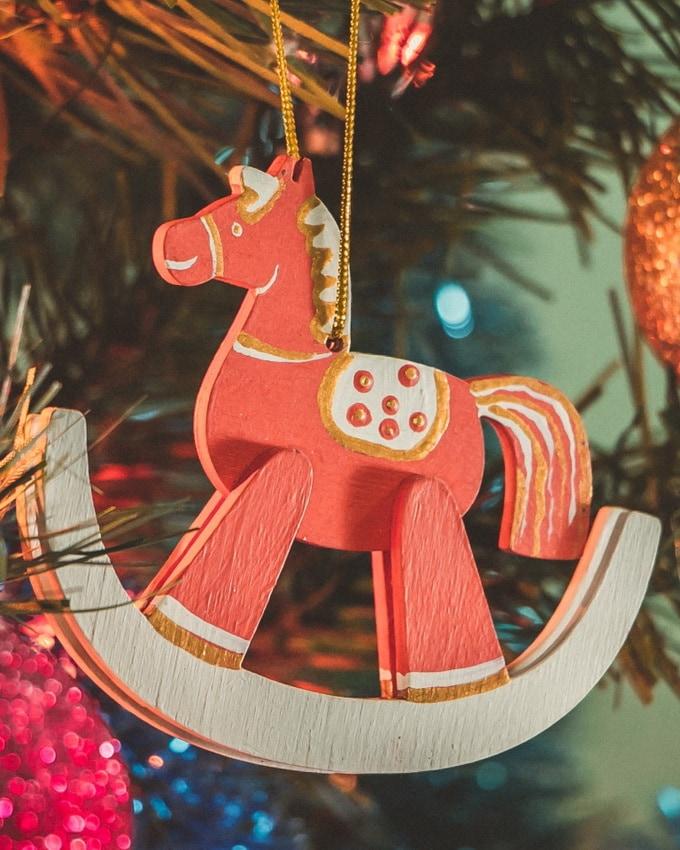 Елочные игрушки - Лошадка на качалке 3020