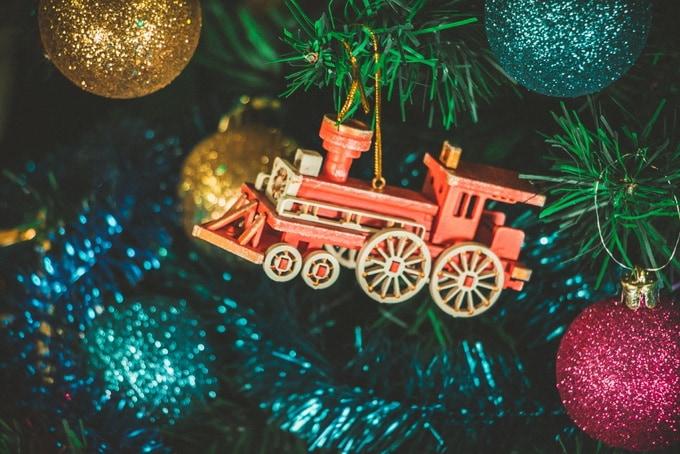 Новогодние елочные игрушки: Ретро паровоз 3020