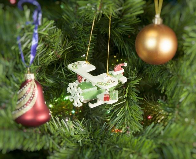 Праздничная елочная игрушка: Самолет Биплан 6017 Santa Winter