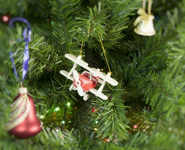 Елочная игрушка, сувенир - Самолет Биплан 3020 Classic