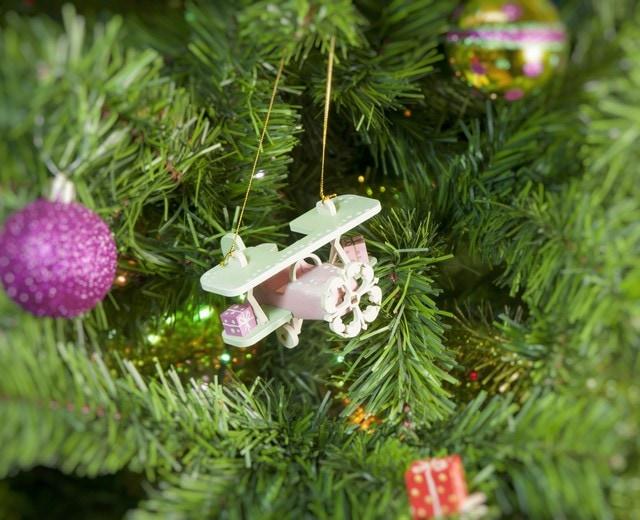 Елочная игрушка, сувенир - Самолет Биплан 3015