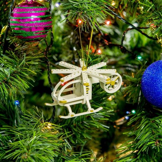 Праздничные новогодние игрушки: Вертолет малый 1013 White winter