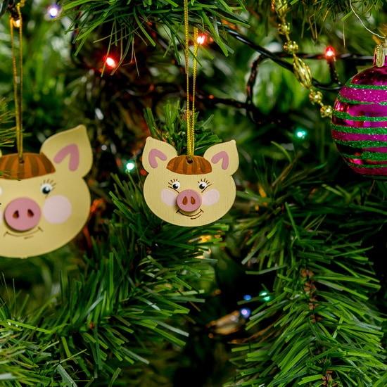 Новогодние украшения: символ 2019 года - Свинка подвеска малая 310-2