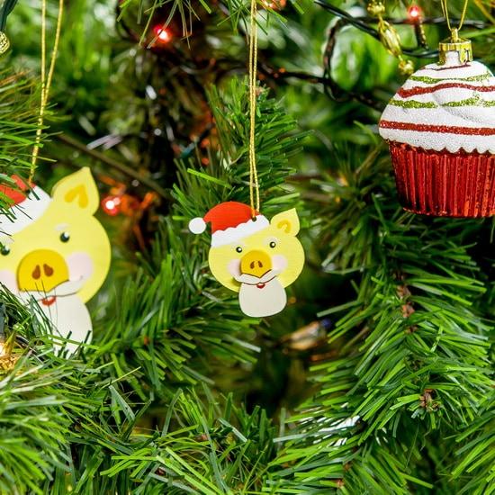 Новогодние украшения: символ 2019 года - Свин подвеска малая - Christmas Pig 270-1