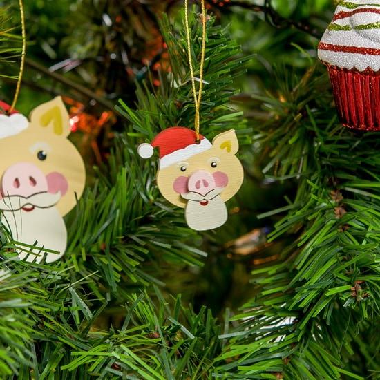 Новогодние украшения: символ 2019 года - Свин подвеска малая - Christmas Pig 310-2