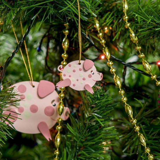 Елочные игрушки: символ 2019 года - Свинка копилка малая 490-1