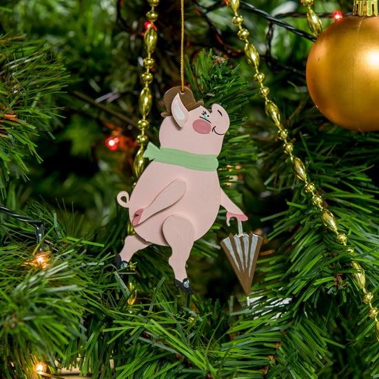 Новогодние украшения: символ 2019 года - Свин с зонтом 490-1