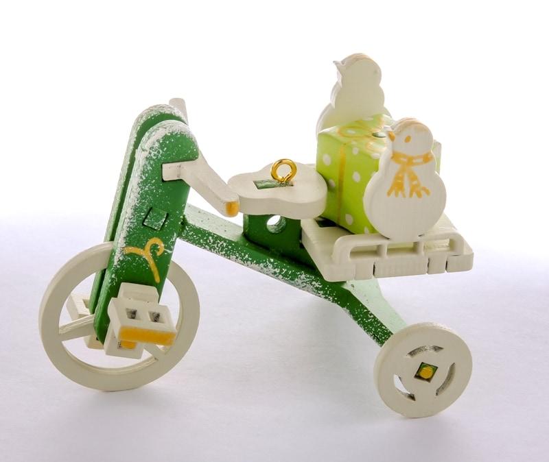 Елочная игрушка - Детский велосипед с багажником 6017 SnowMan