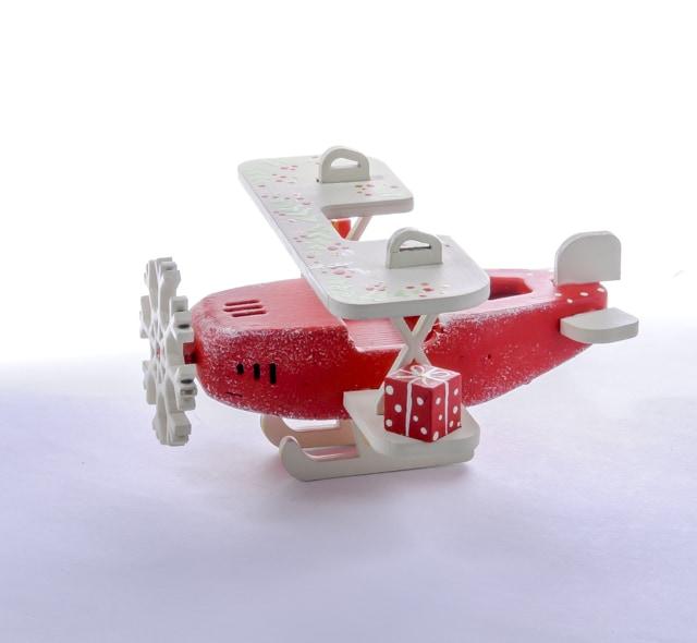 Елочная игрушка, сувенир - Самолет Биплан 3020 Winter