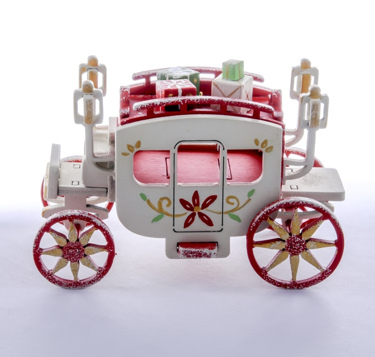 Новогодние елочные игрушки: Карета крытая 3020 Red Classic