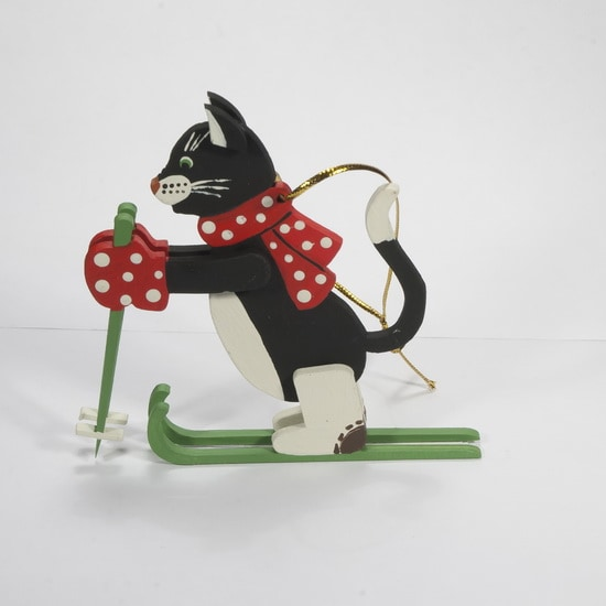 Новогодние украшения - Кошка на лыжах 9005