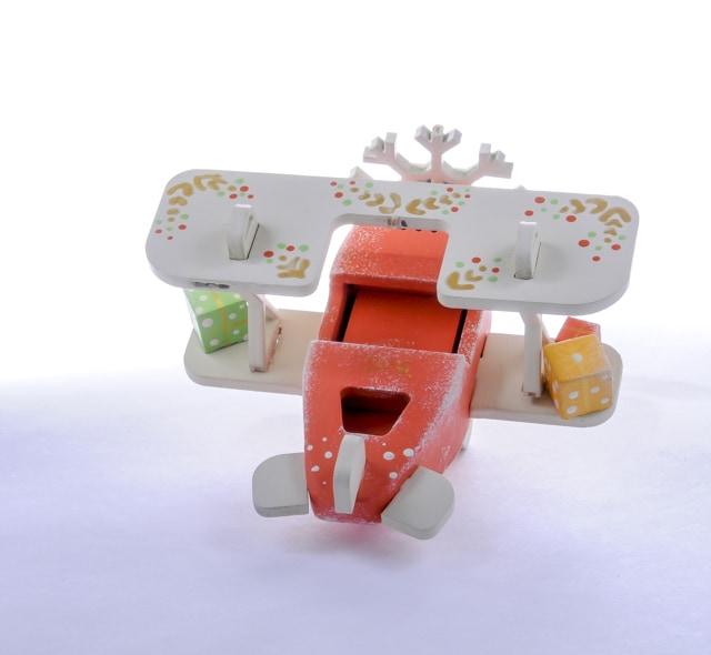 Елочная игрушка, сувенир - Самолет Биплан 410-3