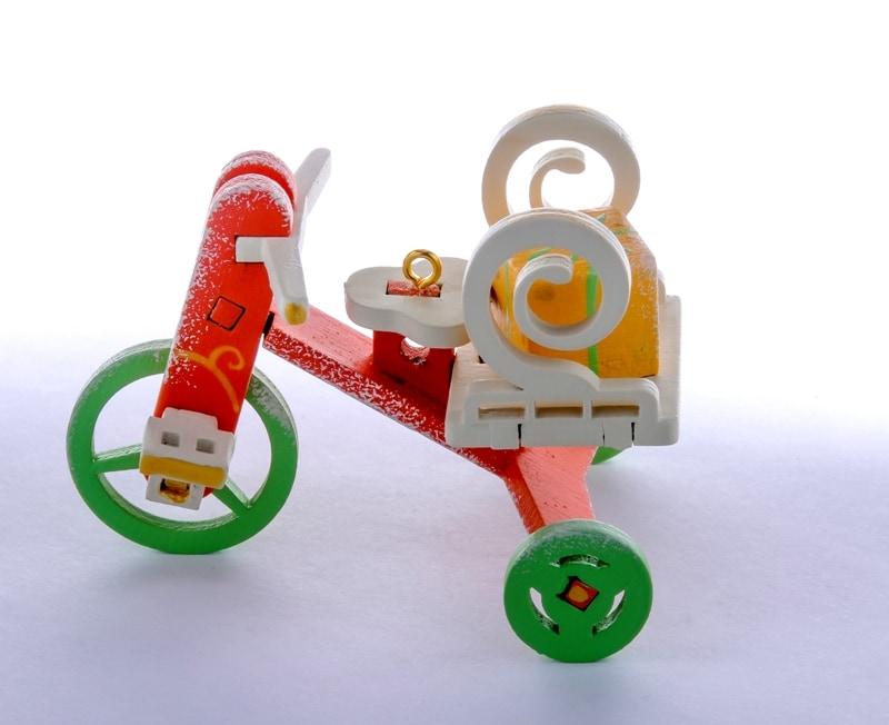 Елочная игрушка - Детский велосипед с багажником  410-3 Twirl