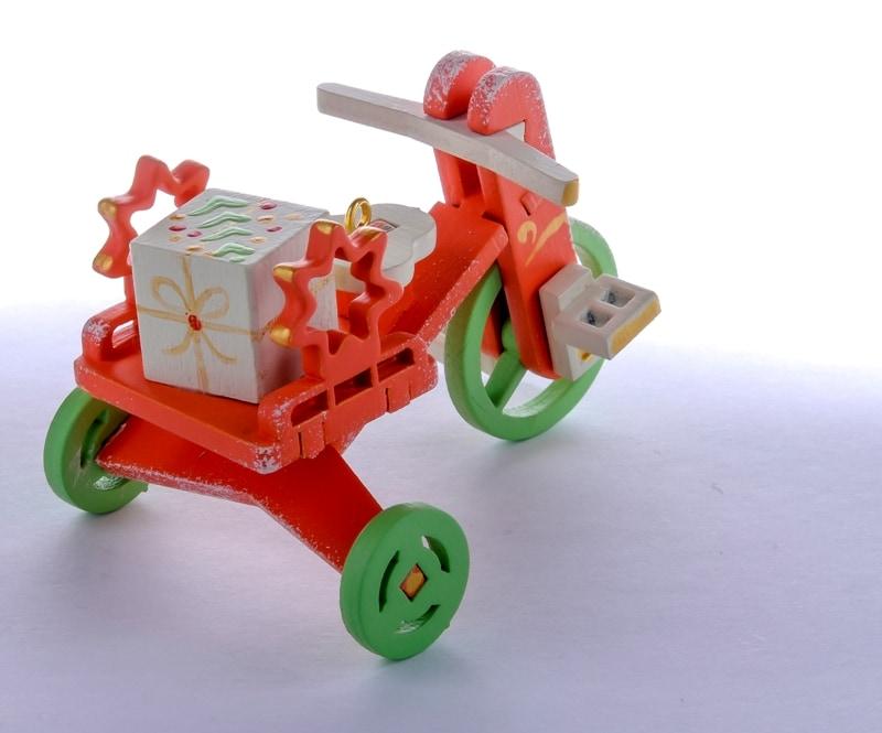 Елочная игрушка - Детский велосипед с багажником 410-3 Star
