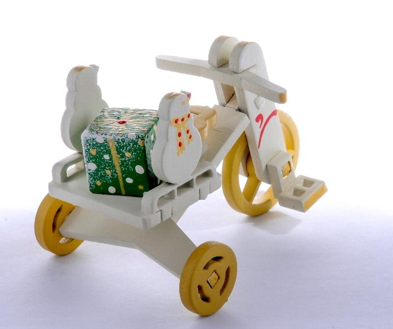 Елочная игрушка - Детский велосипед с багажником 1013 SnowMan