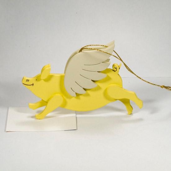 Елочные игрушки: символ 2019 года - Свинка с крыльями 270-1
