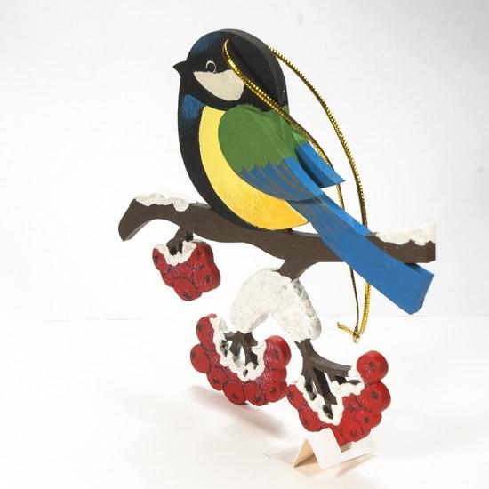 Елочные игрушки из дерева - Синица на ветке 270-1