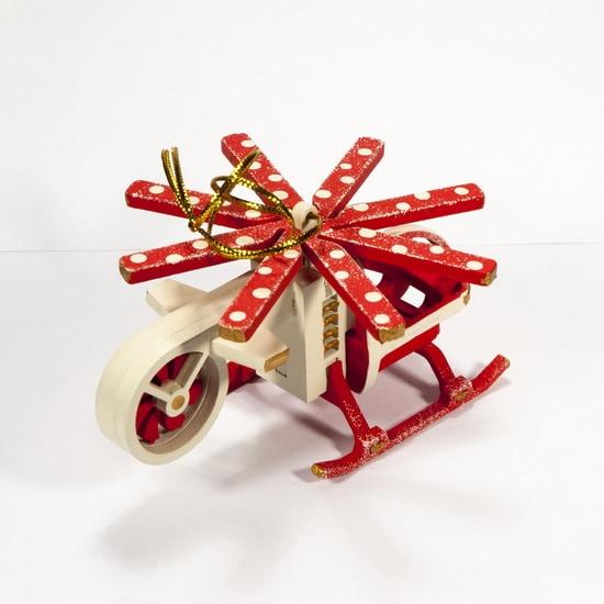 Новогодние елочные украшения: Вертолет малый 1013 Red Cabin