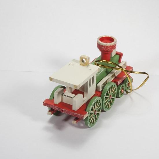 Елочная игрушка, сувенир - Ретро паровоз 3020 White cabin