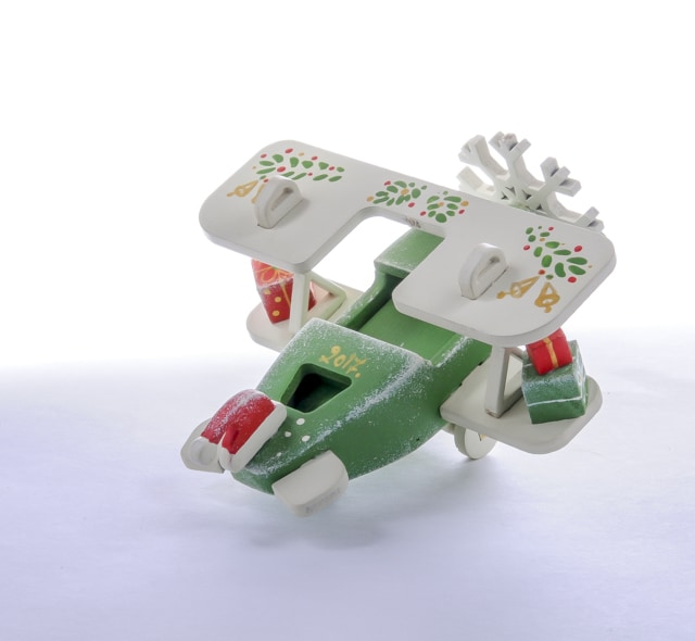 Елочная игрушка, сувенир - Самолет Биплан 6017 Santa