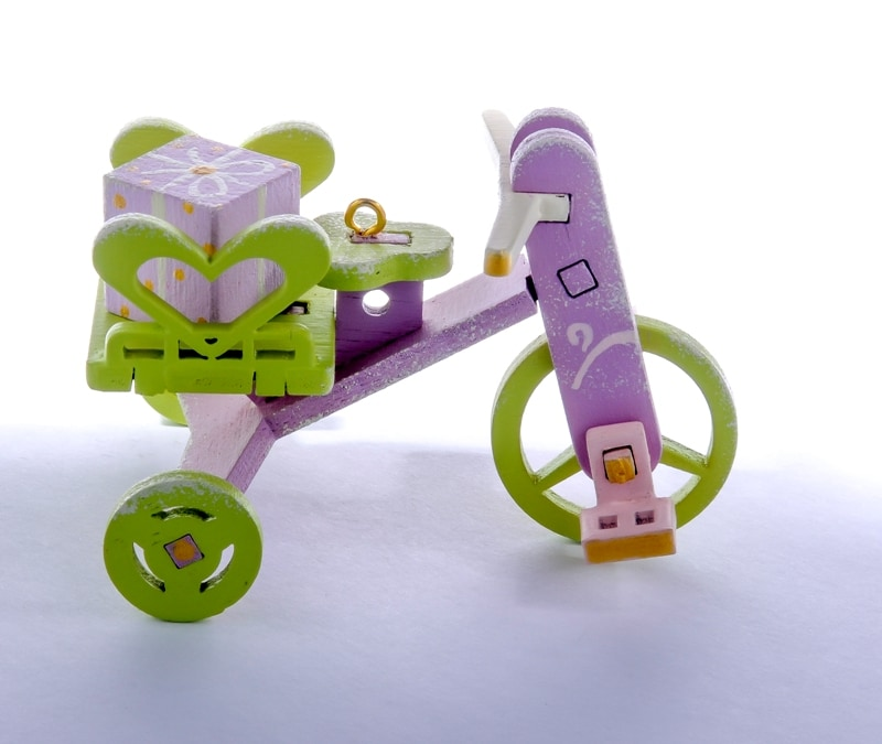 Елочная игрушка - Детский велосипед с багажником 540-2 Heart