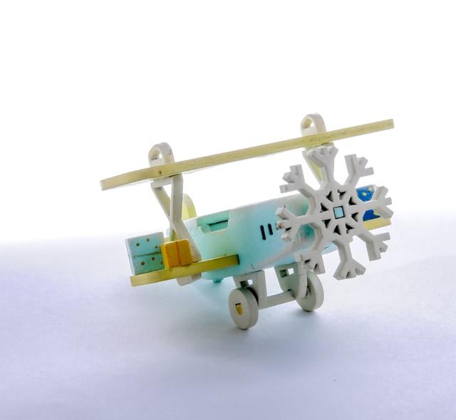 Елочная игрушка, сувенир - Самолет Биплан 56GG64-25804