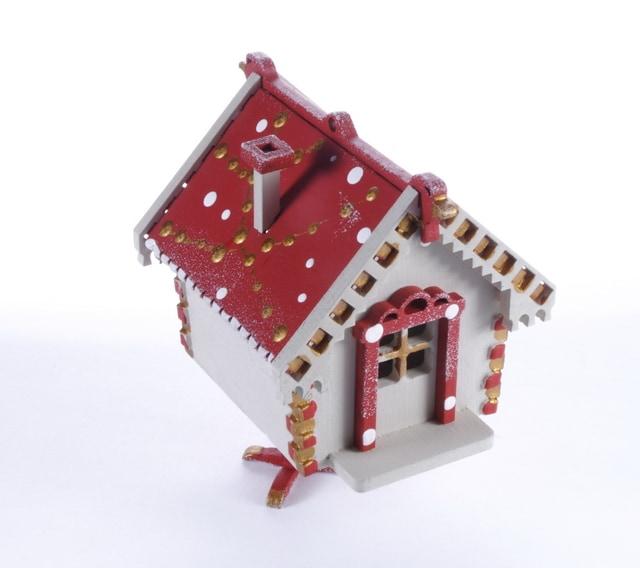 Елочная игрушка, сувенир - Избушка на курьих ножках 1013 Red