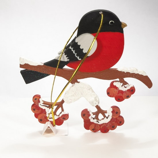 Елочные игрушки из дерева - Снегирь на ветке 3020