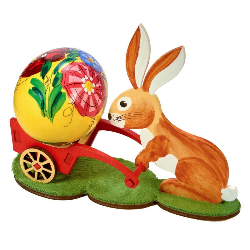 Пасхальный кролик с тележкой 310-2