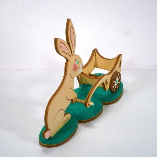 Пасхальный кролик с тележкой 0000