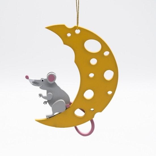 Елочные игрушки: символ 2020 года - Крыса на луне 7047