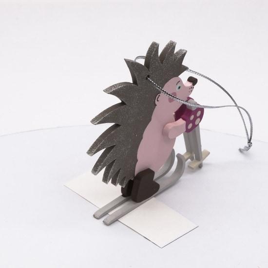 Елочные игрушки - Ежик на лыжах 490-1
